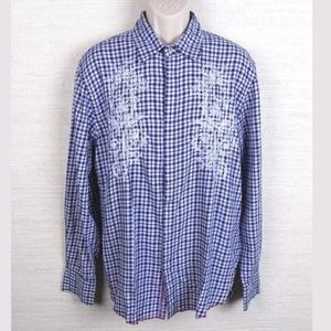 Other - Express Men's Gingham Plaid Button Up Large